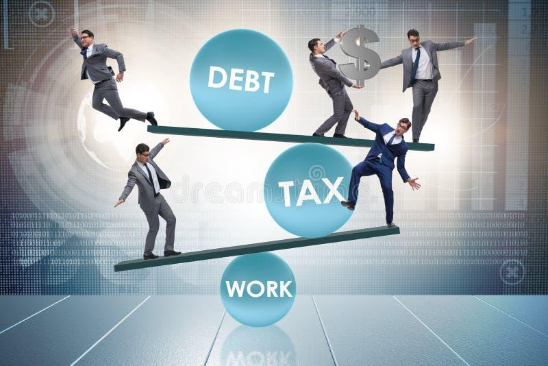 L'homme d'affaires dans le concept d'affaires de dette et d'impôts illustration libre de droits