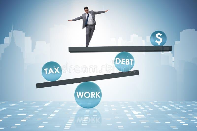 L'homme d'affaires dans le concept d'affaires de dette et d'impôts illustration stock