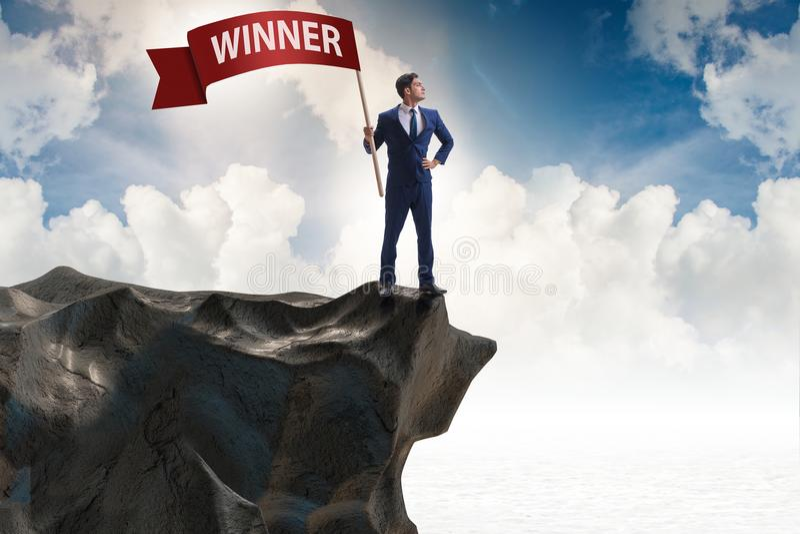 L'homme d'affaires dans le concept d'affaires de gagnant images libres de droits