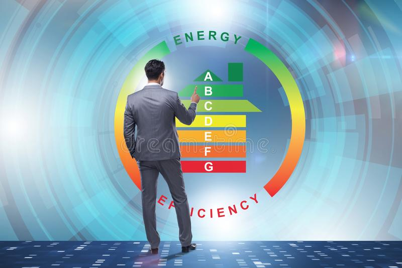 L'homme d'affaires dans le concept de rendement énergétique image libre de droits