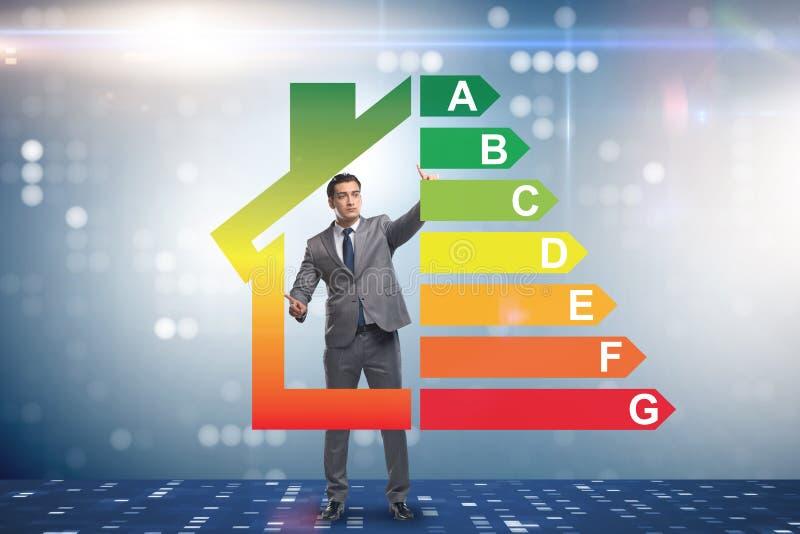 L'homme d'affaires dans le concept de rendement énergétique photo stock