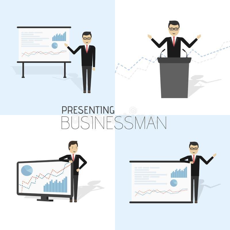 L'homme d'affaires dans le costume formel présente un exposé et montre des graphiques illustration de vecteur