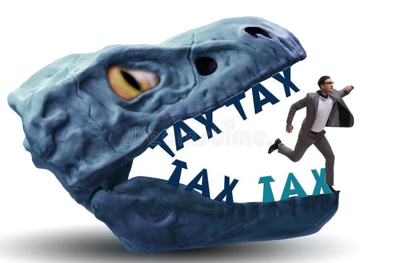L'homme d'affaires dans les mâchoires des impôts élevés illustration stock
