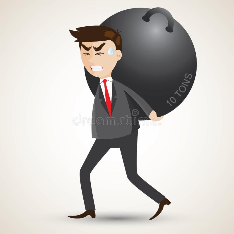 L'homme d'affaires de bande dessinée portent la sphère en acier illustration stock