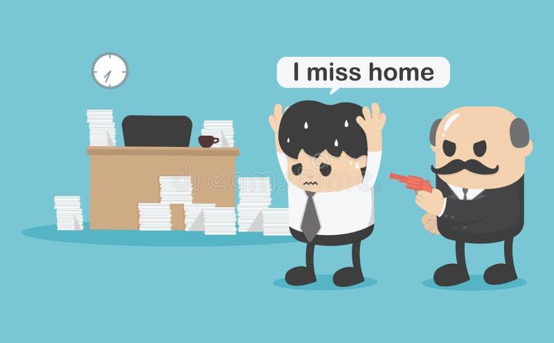 L'homme d'affaires de concept n'est pas retourné à la maison, je manquent à la maison illustration libre de droits