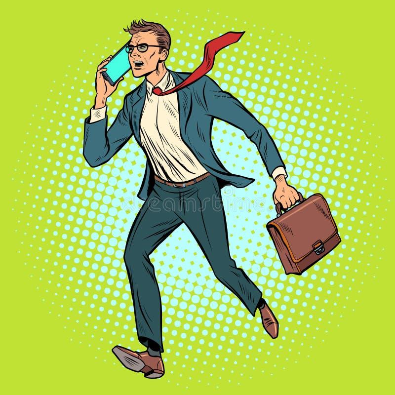 L'homme d'affaires de Président avec le téléphone va illustration stock