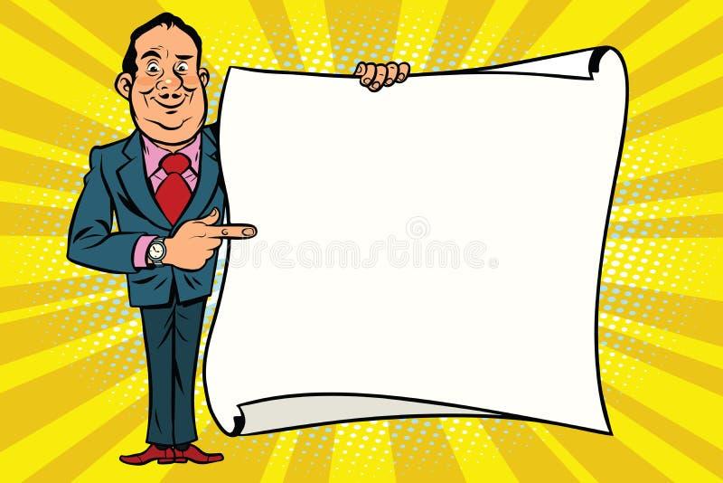 L'homme d'affaires de sourire dirigent la représentation sur l'affiche de l'espace de copie de maquette illustration de vecteur