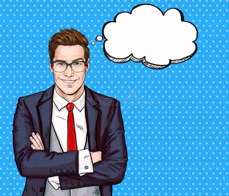 L'homme d'affaires de sourire en verres dans le style comique avec la parole bouillonnent Réussite illustration stock