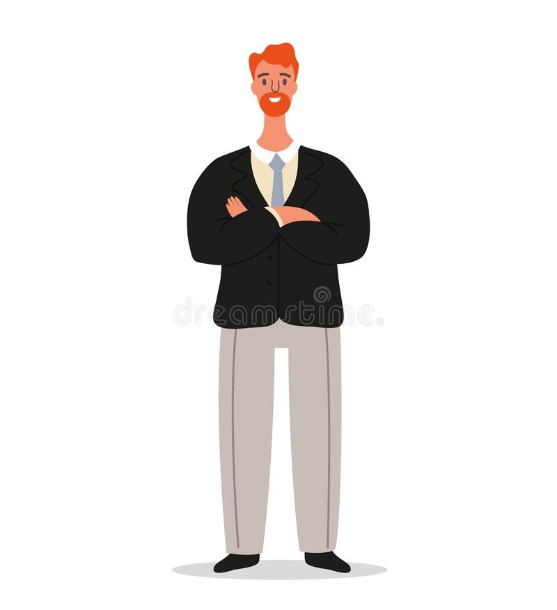 L'homme d'affaires de sourire sûr se tient avec les bras croisés Conception de personnages d'employé de bureau ou d'entrepreneur  illustration libre de droits