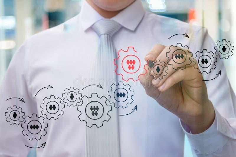 L'homme d'affaires dessine un détail important dans le mécanisme photos stock