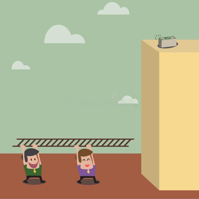 L'homme d'affaires deux portent l'échelle pour aller au dessus de b illustration stock
