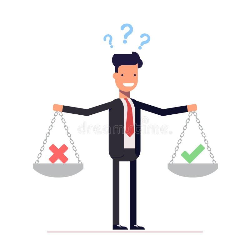 L'homme d'affaires, directeur avec des poids dans des ses mains doit choisir oui ou non Points d'interrogation au-dessus de l'hom illustration libre de droits