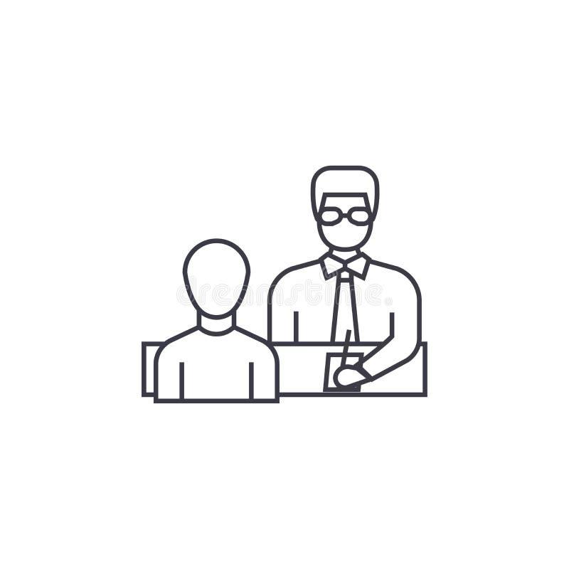L'homme d'affaires donnant des instructions dirigent la ligne icône, le signe, illustration sur le fond, courses editable illustration stock