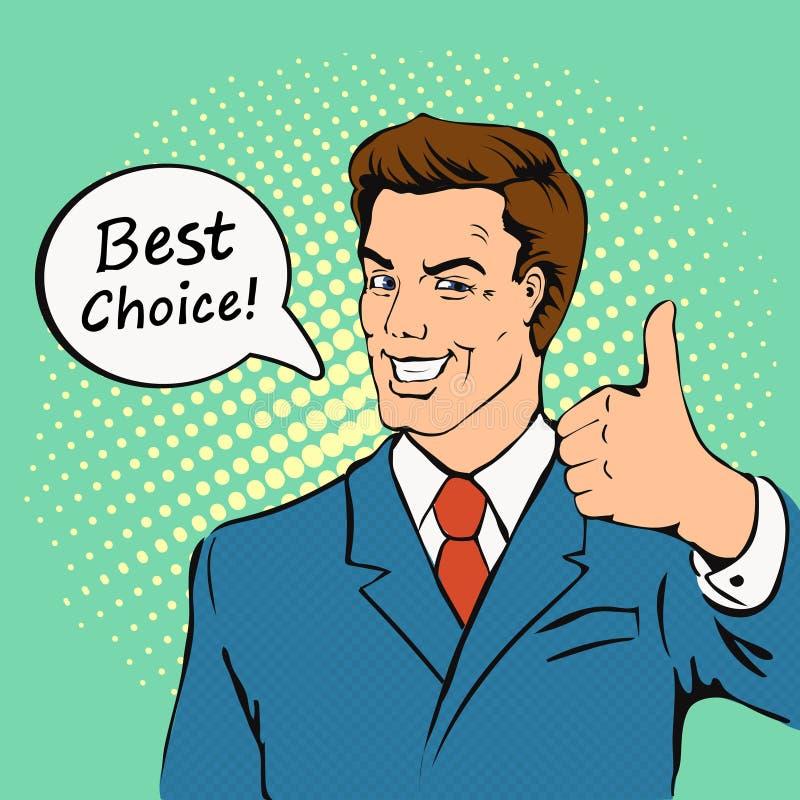 L'homme d'affaires donne le pouce dans le rétro style de bandes dessinées illustration stock