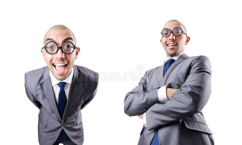 L'homme d'affaires dr?le de ballot sur le blanc photographie stock