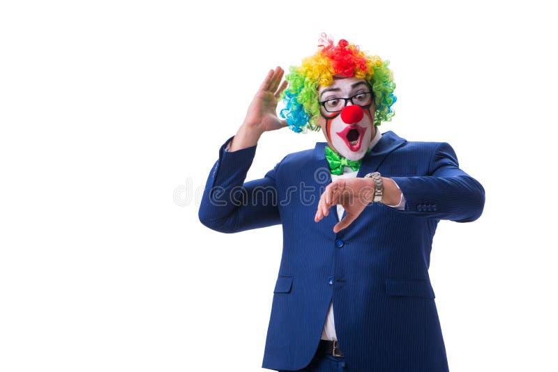 L'homme d'affaires drôle de clown d'isolement sur le fond blanc photos libres de droits