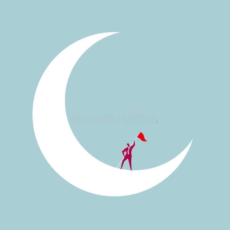 L'homme d'affaires a embarqué la lune illustration libre de droits