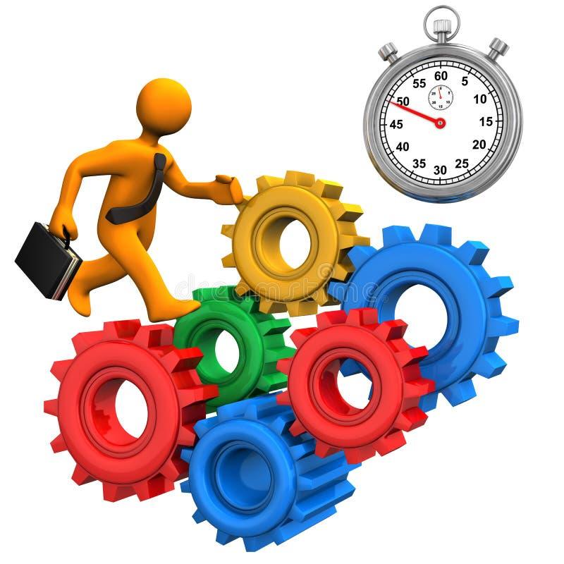 L'homme d'affaires engrène le chronomètre illustration de vecteur