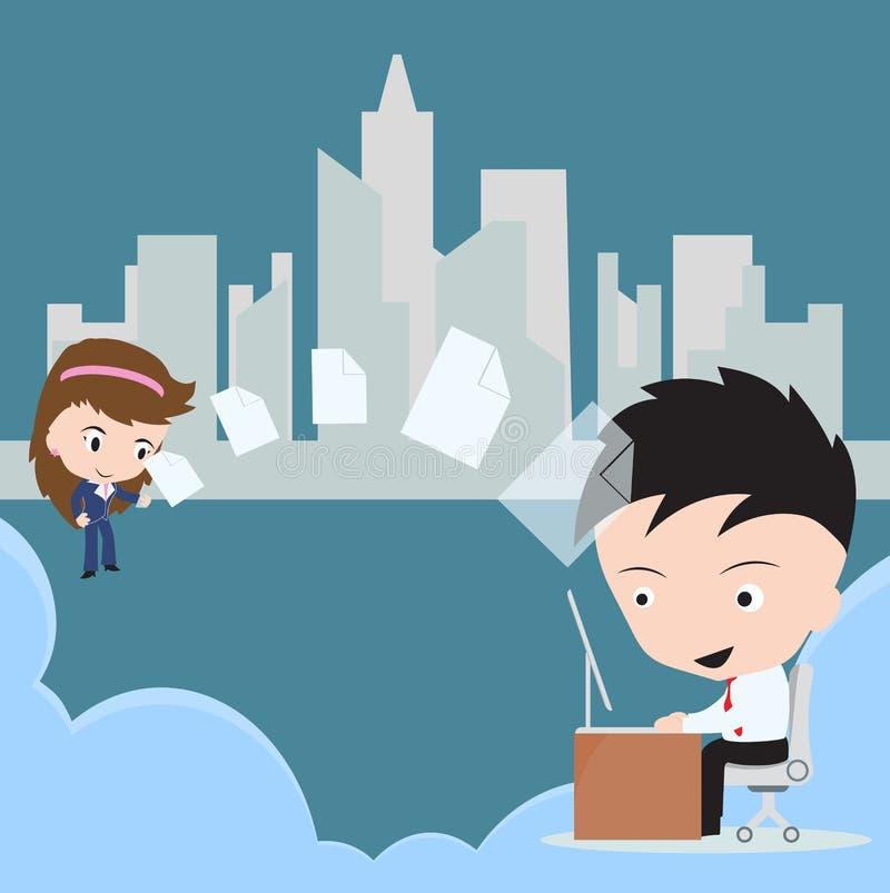L'homme d'affaires envoient le document, partage de fichiers à la femme par l'intermédiaire du concept de technologie informatiqu illustration de vecteur