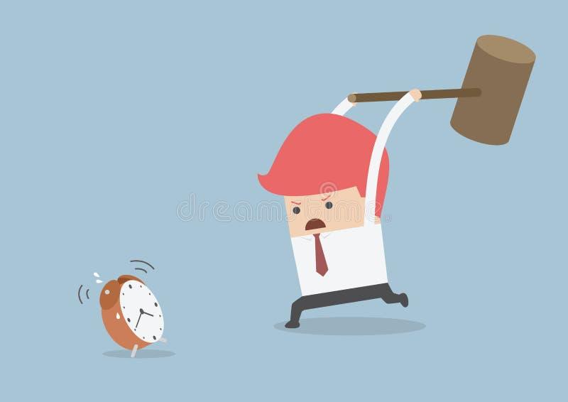 L'homme d'affaires essaye de heurter le réveil à l'aide du grand marteau illustration stock