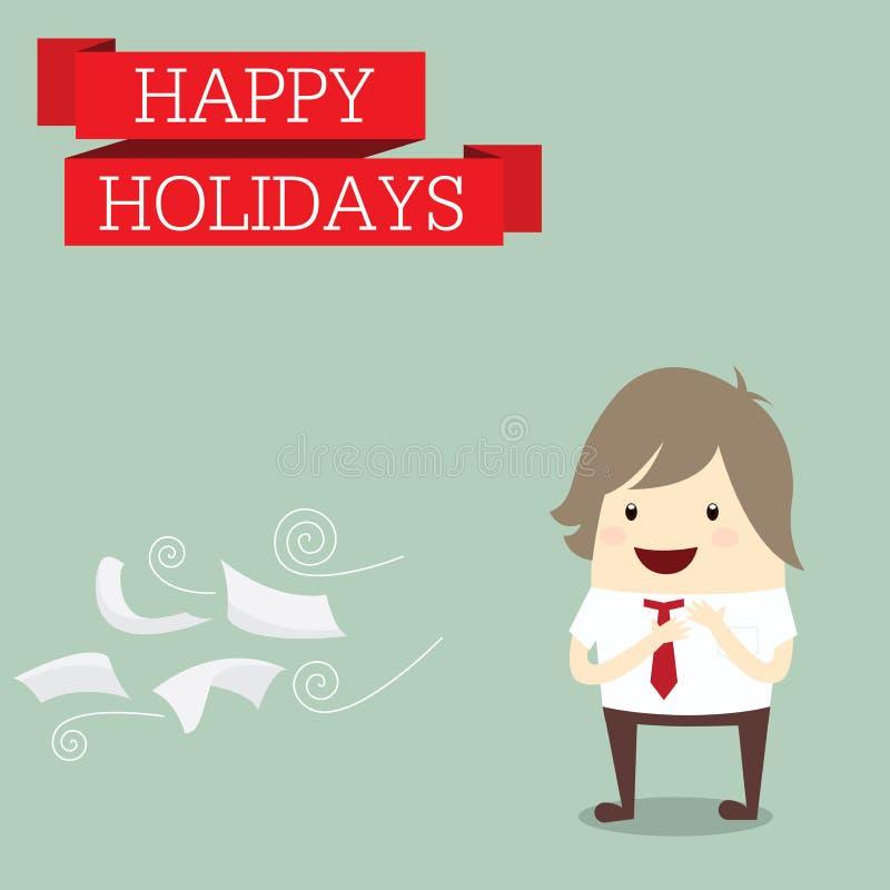 L'homme d'affaires est heureux aux vacances détendent le temps après travail dur, illustration de vecteur