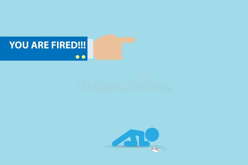 L'homme d'affaires est mis le feu du son travail, ressource humaine et concept d'affaires illustration stock