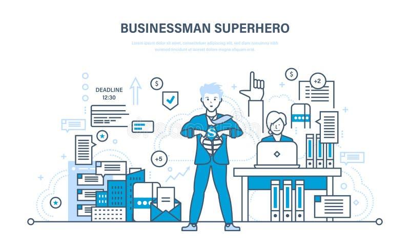 L'homme d'affaires est super héros, dans des vêtements d'affaires sur le fond de la ville illustration stock