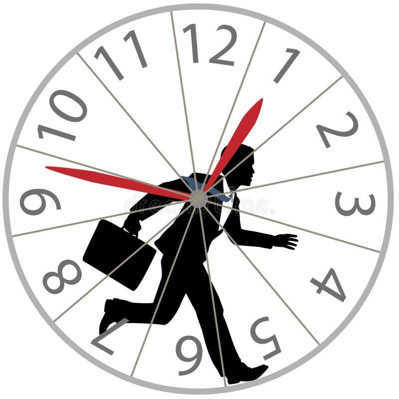 L'homme d'affaires exécute le chemin de rat dans l'horloge de roue de hamster illustration stock