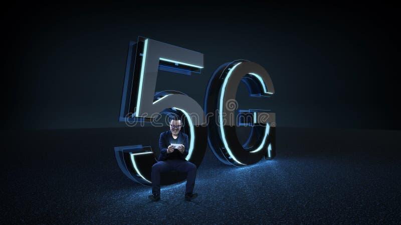 L'homme d'affaires excité s'asseyent sur le 3D rendent la police 5G futuriste avec la lampe au néon bleue photos libres de droits