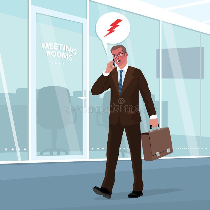 L'homme d'affaires fâché jure par le téléphone dans le bureau illustration stock