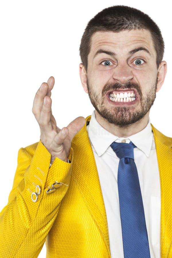 L'homme d'affaires fâché montre ses émotions photographie stock libre de droits