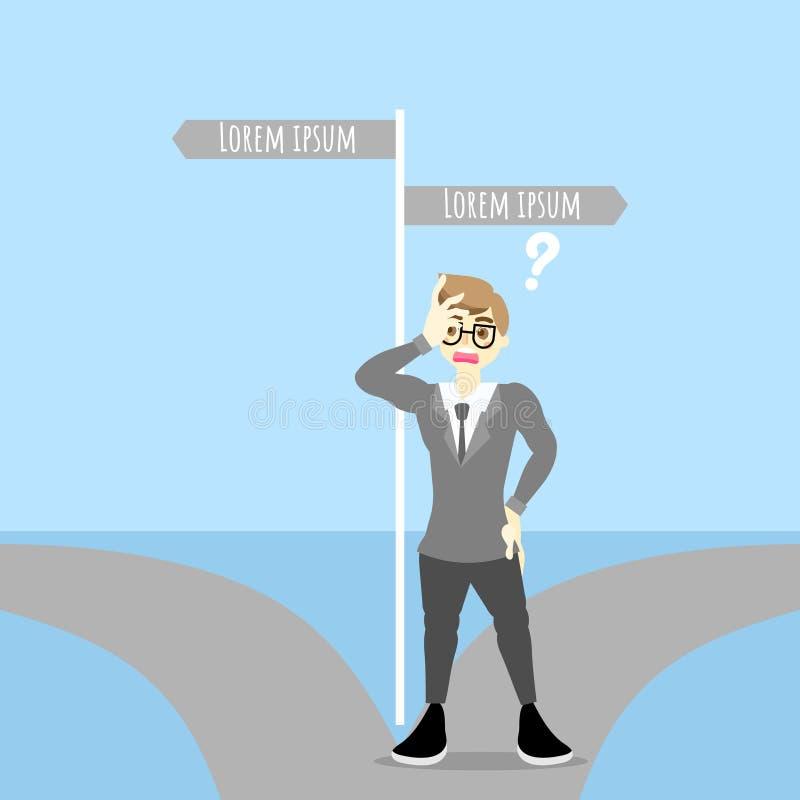 L'homme d'affaires font une position de décision sur les deux voies avec le panneau routier illustration libre de droits