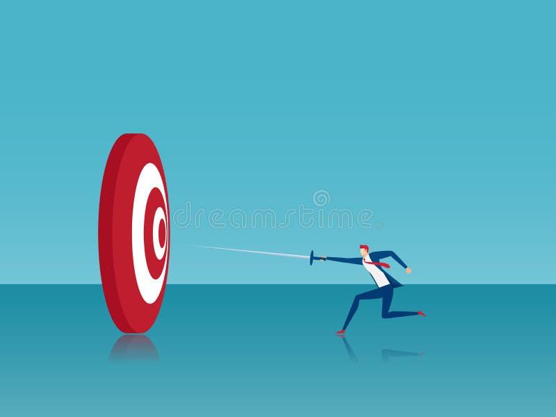 L'homme d'affaires a frappé la cible avec l'épée Atteinte du concept d'affaires de succès illustration libre de droits