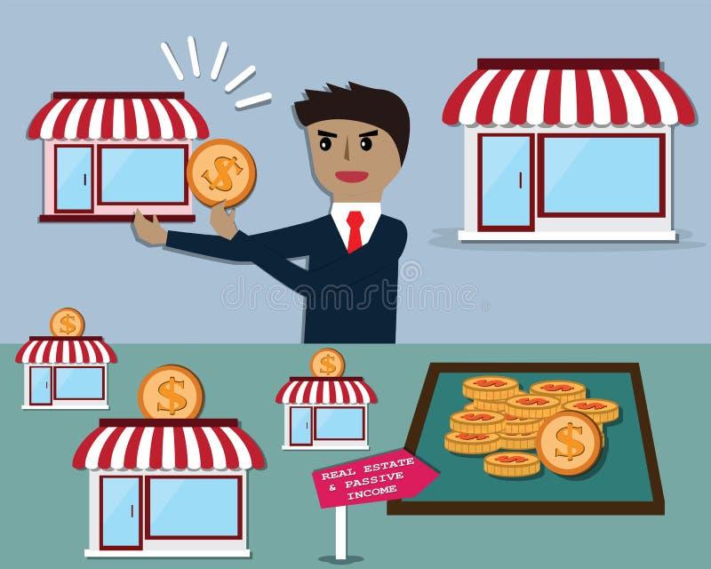 L'homme d'affaires gagnent l'argent quotidien à partir de louer les immobiliers - vecteur illustration libre de droits