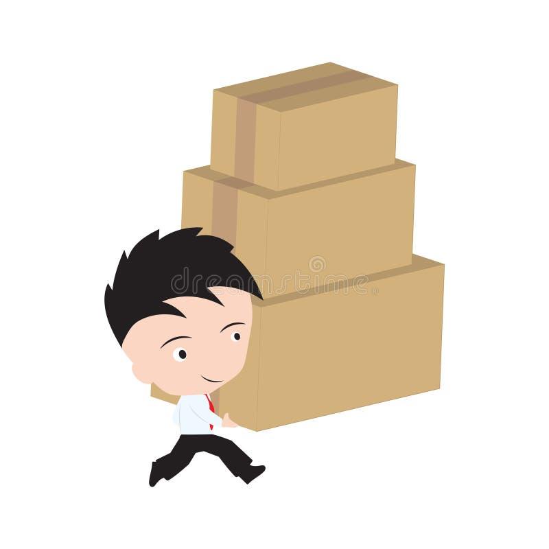 L'homme d'affaires heureux apportent des boîtes, des marchandises, la livraison de cadeau pour embarquer et le concept du service illustration libre de droits