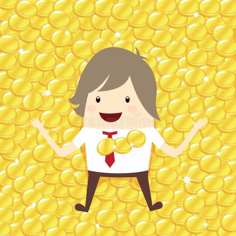 L'homme d'affaires heureux est se trouvent vers le bas détendant avec le stac de penny de pièce d'or illustration stock