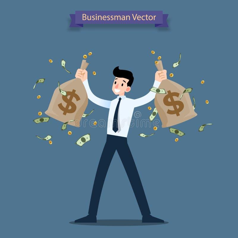 L'homme d'affaires heureux tenant une pièce d'or d'argent et mettent en sac, renvoient Personnes riches qui peuvent faire beaucou illustration de vecteur