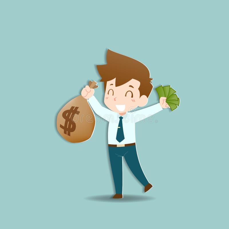 L'homme d'affaires heureux tenant une pi?ce d'or d'argent et mettent en sac, renvoient Personnes riches qui peuvent faire beaucou illustration libre de droits