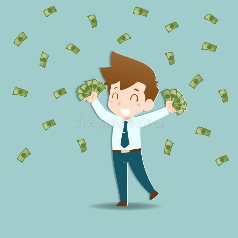 L'homme d'affaires heureux tenant une pi?ce d'or d'argent et mettent en sac, renvoient Personnes riches qui peuvent faire beaucou illustration de vecteur