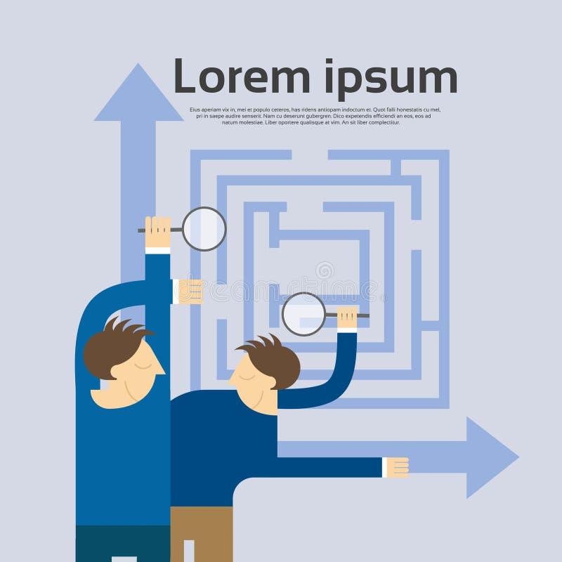 L'homme d'affaires Hold Magnifying Glass choisissent le labyrinthe de direction illustration libre de droits
