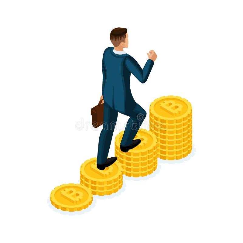 L'homme d'affaires isométrique escalade une colline devise de pièces d'or de la crypto, ICO, Bitcoin, dollars, argent liquide, mo illustration stock