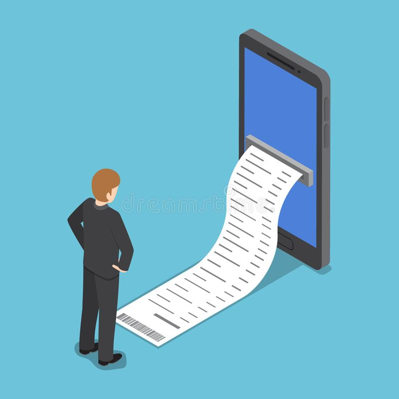 L'homme d'affaires isométrique regardant la facture sortent du smartpho illustration stock