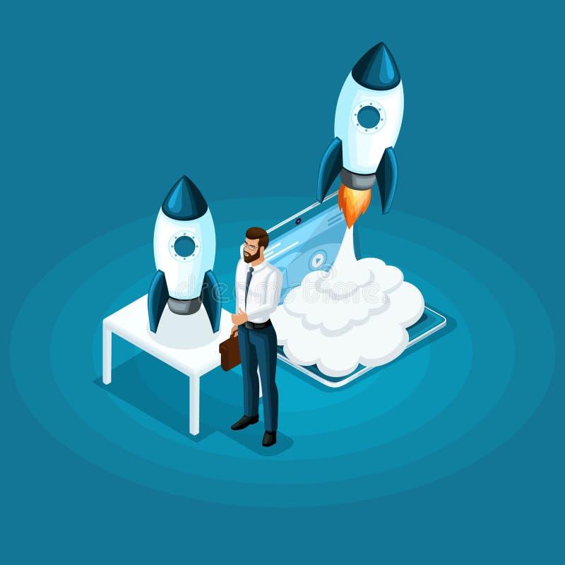 L'homme d'affaires isométrique se tient avec le lancement de démarrage de fusée de projet d'ico dans le ciel, le concept du dével illustration stock