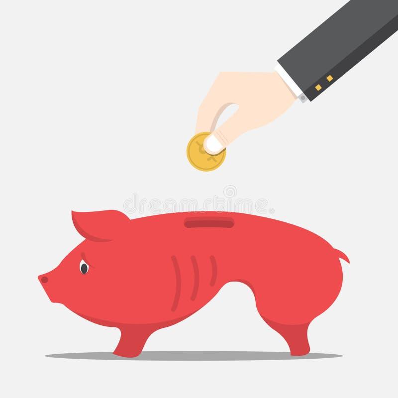 L'homme d'affaires laissant tomber la pièce de monnaie dans la tirelire maigre de porc illustration de vecteur
