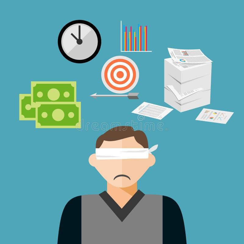 L'homme d'affaires les yeux bandés a beaucoup de cibles illustration stock