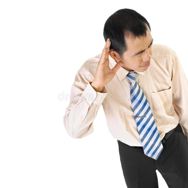 L'homme d'affaires mûres écoutent image stock