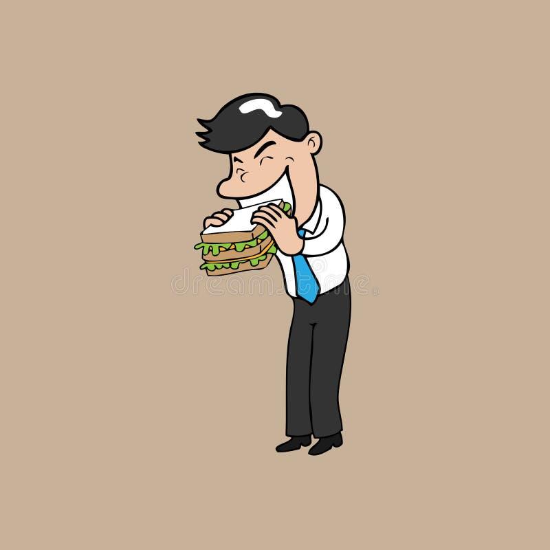L'homme d'affaires mangent le sandwich illustration stock