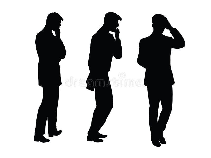 L'homme d'affaires masculin pense va chiffre noir de silhouette illustration de vecteur