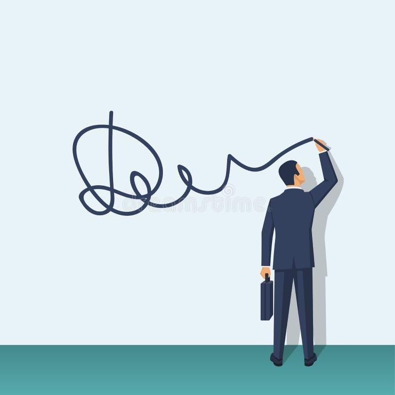 L'homme d'affaires met la signature illustration de vecteur
