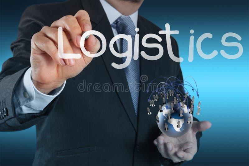 L'homme d'affaires montre le diagramme de logistique comme concept photo stock